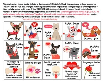 Quick Drill Valentine Puppy Love {for speech therapy or any skill drill}