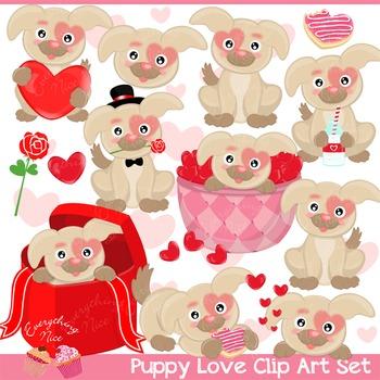 Puppy Love Valentine Puppies Dogs Clipart Set