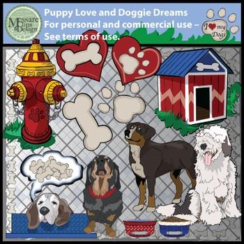 Puppy Love and Doggie Dreams Clip Art Set {Messare Clips a