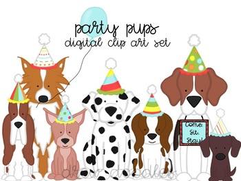 Puppy Party Digital Clip Art Set
