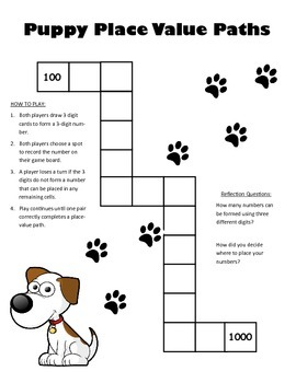 Puppy Place Value - Ordering Numbers Math Workstation