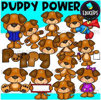 Puppy Power Clip Art Bundle {Educlips Clipart}