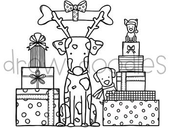 Puppy Presents Digital Clip Art Set- Black Line Version