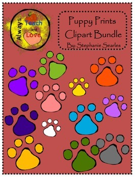 Puppy Paw Prints Clipart Bundle