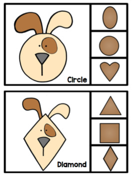 Puppy Shapes Clip Cards