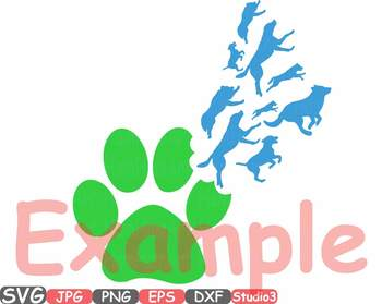 Puppy Silhouette Clip Art SVG Cutting Pet Paw dog dogs cute animal 763S