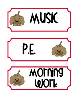 Puppy Theme Daily Schedule Cards