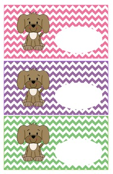 Puppy Theme Labels, Classroom Organization