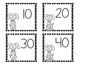 Puppy Themed Cards Adding by 10's