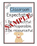 Puppy Themed Classroom Expectations Poster