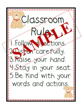 Puppy Themed Classroom Rules Poster