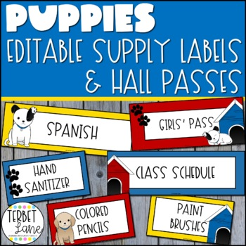 Puppy Dog Themed Classroom Signs, Hall Passes and Supply Labels