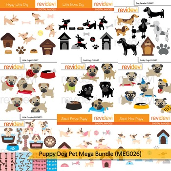 Puppy dog pet clip art mega bundle (9 packs)