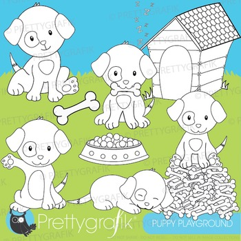 Puppy dog stamps commercial use, vector graphics, images - DS528