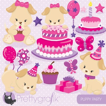 Puppy party clipart commercial use, vector graphics, digital - CL819