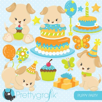 Puppy party clipart commercial use, vector graphics, digital - CL840