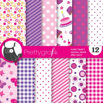 Puppy party digital paper, commercial use, scrapbook paper
