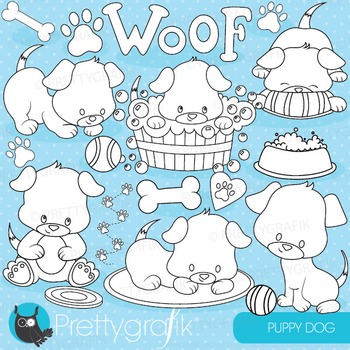 Puppy party stamps commercial use, vector graphics, images