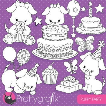Puppy party stamps commercial use, vector graphics, images - DS819