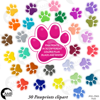 Paw Prints Clipart, Pet Clipart, Puppy Dog Paws,  {Best Teacher Tools} AMB-1860