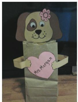 Puppy valentine treat bag