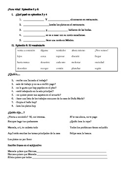 Pura Vida Video Episodes 5 & 6 Activities