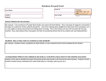 Purchase Request Form For Teachers And Principals