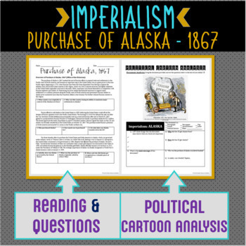 Purchase of Alaska Close Reading Comprehension and Political Cartoon Analysis