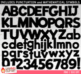 Pure Black Letters and Numbers Clip Art