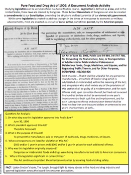 Pure Food and Drug Act FDA Document Analysis Activity