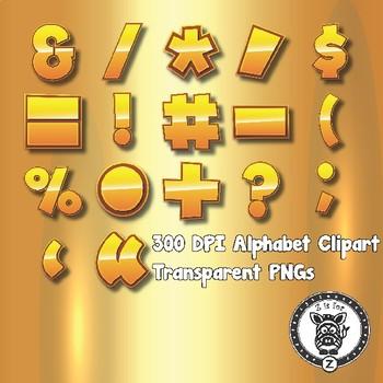 Pure Gold Alphabet Alpha Clip Art