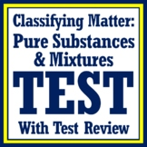 Classify Matter Test Assessment (Pure Substance & Mixtures MS-PS1-1 MS-PS1-8