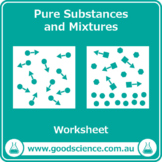 Pure Substances and Mixtures [Worksheet and Flashcards]