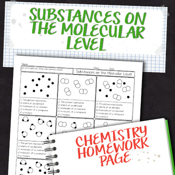 Pure Substances and Mixtures on the Molecular Level Chemistry Homework Worksheet