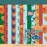Purim Digital Scrapbooking Kit, Clip Art, Elements, Backgr