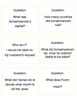 Purim Question Memory Game