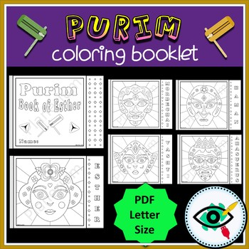 Purim Jewish holiday coloring booklet