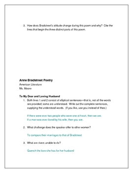 Puritan Anne Bradstreet Questions and Quizzes