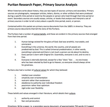 Puritan Literature Primary Source Analysis Flipped Lesson Bundle
