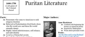 Puritan Literature Unit Notes