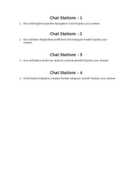 Puritan & Navigation Acts - Chat Stations Activity Questions