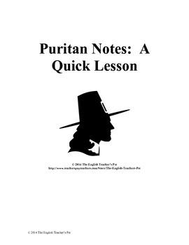 Puritan Notes- A Quick Lesson