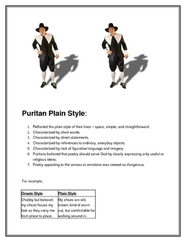 Puritan Plain Style Background and Writing Assignment