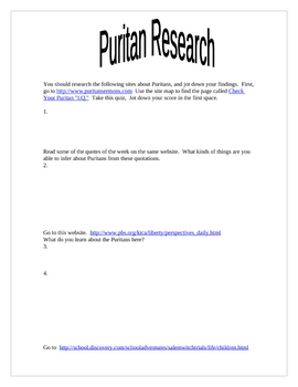 Puritan Research Project