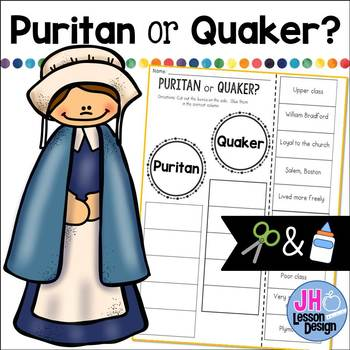 Puritan or Quaker? Cut and Paste Sorting Activity