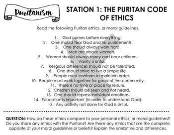 Puritanism Learning Stations -- Perfect as an intro to The Crucible