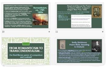 Puritanism, Romanticism, and Transcendentalism: Lit. Genres PPT w/Analysis!