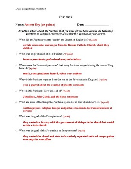 Puritans Article Comprehension Worksheet