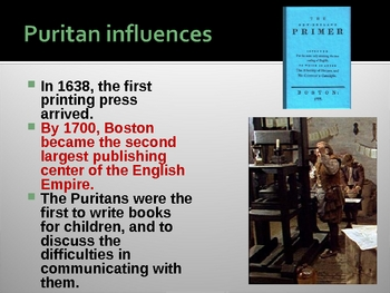 Puritans - Information for an American Literature Class - Power Point