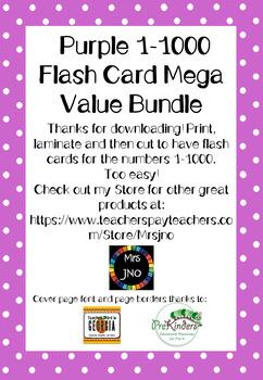 Purple 1-1000 Flash Card Mega Value Bundle